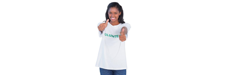 volunteer showing thumbs up